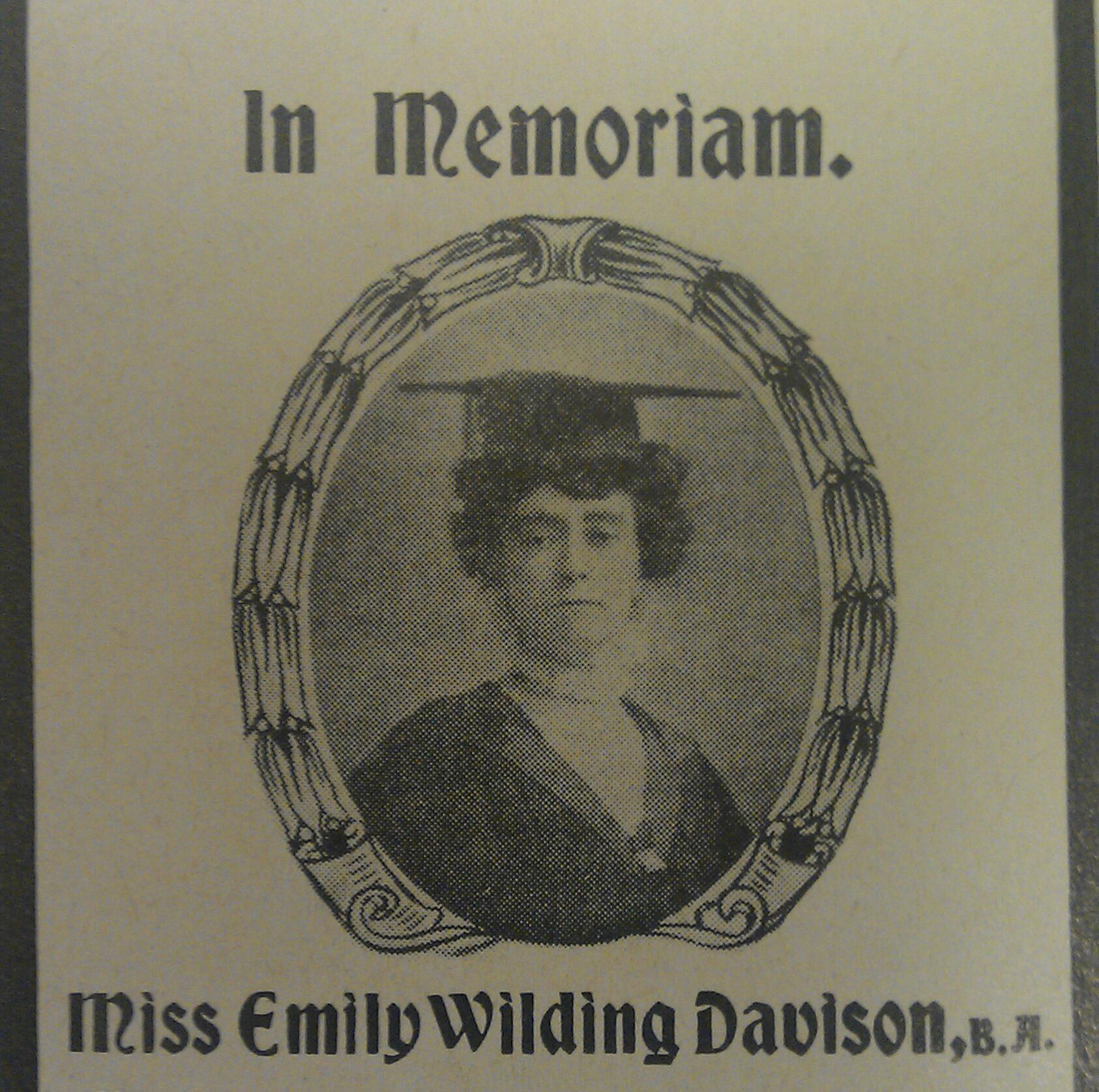 the death of emily davison Marina warner explores emily davison's legacy as the suffragettes' first martyr in a talk given at the inaugural wilding festival at st george's bloomsbury, where davison's memorial service was held[1] emily wilding davison was born in 1872 in a substantial house in greenwich, the middle.