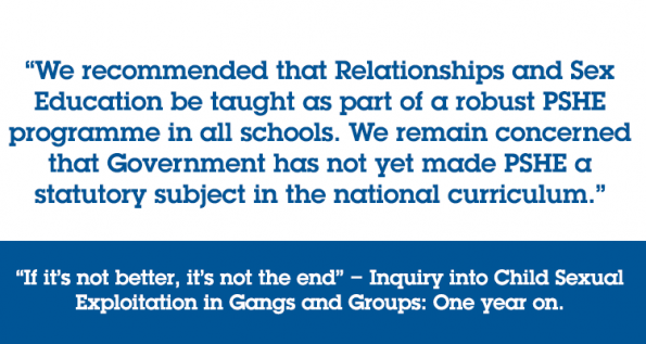office of the children's commissioner, one year on, CSE, report, inquiry