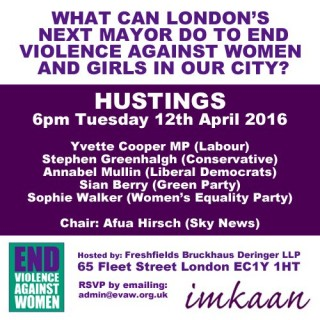 imkaan, EVAW Coalition, manifesto, hustings, mayoral candidates, May 2016, violence against women and girls,