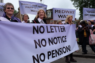 WASPI demo, women's pensions, 1950's women, WASPI, Trudy from Somerset