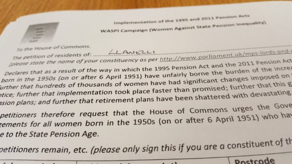 WASPI petition, presented in Parliament, 11 October 2016,