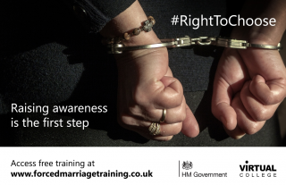 forced marriage training course, FMU, #RightToChoose, e-learning course