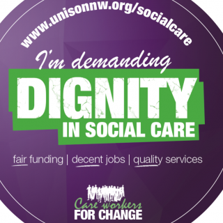 Careworkers for Change. UNISON, 15 minutes, hustings, petitions