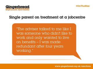 Gingerbread, report, single parent families, DWP, sanctions,