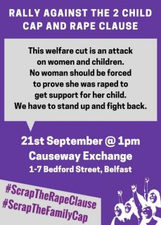 21 September 2017, rally, Belfast, end rape clause, scrap 2-child cap