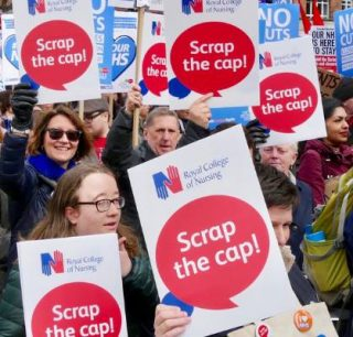 RCN, Scrap the Cap, 1 per cent, pay rise, inflation, no job cuts, vote, parliament, 14 health unions,