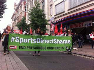 Sports Direct, Flannels, zero-hour contracts, War on Want, Unite the Union