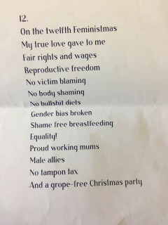 Women Help Women, Hyrrs not Hymms, twelfth day, Feministmas, holiday