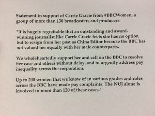 Carrie Gracie, China editor, BBC, gender pay gap, pay complaints,