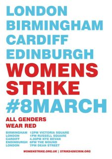#WeStrike, Women's Strike, London, Birmingham, Cardiff, Edinburgh, wear red, 8 March 2018