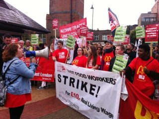 War on Want, fast food workers, strike, the Bakers Food and Allied Workers Union, union membership, £10 an hour pay, work contracts, better working conditions