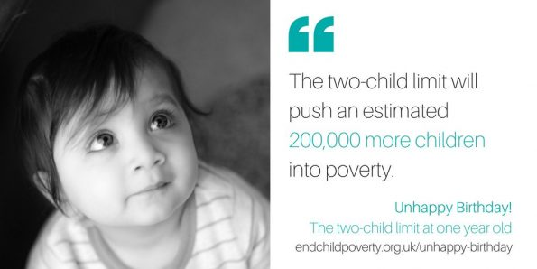 two-child policy, UK children in poverty, Universal Credit, Unhappy Birthday, report, End Child Poverty