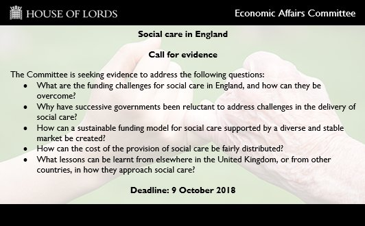 house of lords, economic affairs committee, social care, England, call for evidence, inquiry