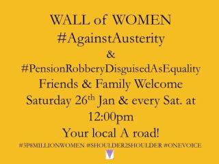 protest, pension theft, unfair pensions, 50's women, Shoulder2Shoulder, roadside protest, hiviz jacket, every Saturday