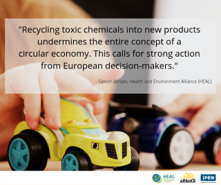 HEAL, Arnika, IPEN, report, toxic chemicals, recycled products, childrens' toys, European Union,