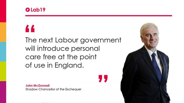 John McDonnell MP, Shadow Chancellor of the Exchequer, anouncement, free personal care, point of use, England, next Labour government