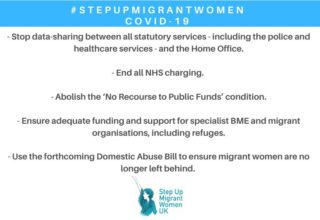 Step Up Migrant Women coalition, domestic abuse, immigration, COVID-19, lock-down, NHS charging, No Recourse to Public Funds, help