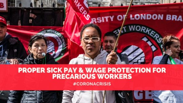 COVID-19, sick pay, discrimination, women, BAME workers, low pay, letter, government, IWGB,