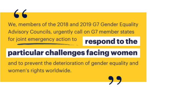 G7, Gender Advisory Councils, COVID-19, gender equality, women's rights, domestic violence, frontline carers