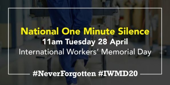 one-minute silence,28 April 2020, 11am, in memory, thanks, NHS staff, frontline workers, death, COVIS-19, RCN, RCM, UNISON, NursingNotes