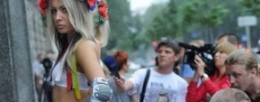 Ukrainian women's rights group topless protest against sex industry